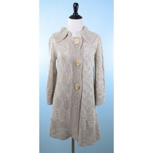 ONE GIRL WHO beige snap button cardigan SMALL